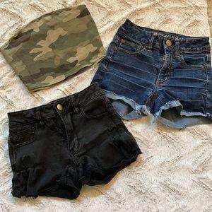 American Eagle denim shorts bundle black & blue 00